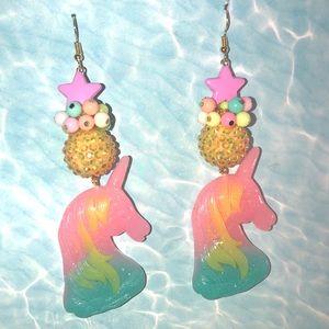 Unicorn ombré rainbow star 🌟 big earrings sparkle
